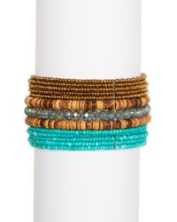 Panacea - Turquoise Brown Seed Beaded Cuff - Lyst