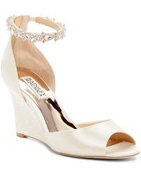 Badgley Mischka - Thalia Crystal Embellished Wedge Heel Sandal - Lyst