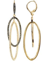 Judith Jack - 10k Gold Plated Crystal & Marcasite Detail Double Open Oval Drop Earrings - Lyst