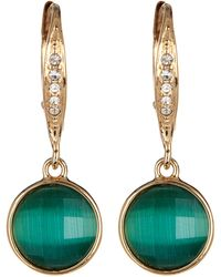 Judith Jack - 10k Gold Plated Sterling Silver Crystal Studded Green Cat's Eye Drop Earrings - Lyst