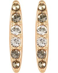 Judith Jack - 10k Gold Plated Sterling Silver Crystal Swarovski Marcasite Pave Bar Stud Earrings - Lyst