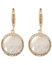 Judith Jack - 10k Gold Plated Sterling Silver Swarovski Marcasite, & Mother Of Pearl Medallion Drop Earrigs - Lyst