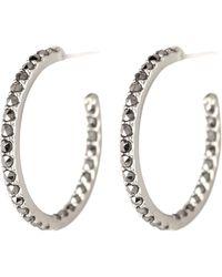 Judith Jack - Sterling Silver Swarovski Marcasite Pave Hoop Earrings - Lyst