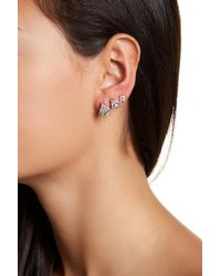 Jenny Packham | Teardrop Crystal Stud & Pave Ear Crawlers | Lyst