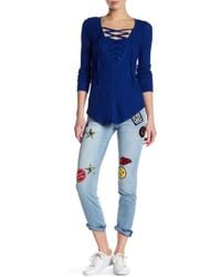 William Rast - Slim Straight Patch Embellished Jean - Lyst