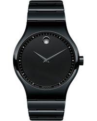 Movado - Men's Swiss Ceramico Black Ceramic Bracelet Watch 41mm 0607047 - Lyst