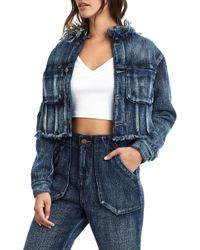 True Religion - Cropped Frayed Trim Denim Jacket - Lyst