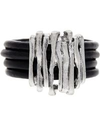 Saachi - Black Sketched Genuine Leather Ring - Lyst