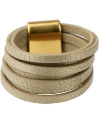 Saachi - Taupe Stranded Leather Ring - Lyst