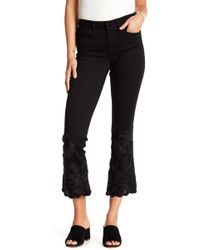 William Rast - Cropped Flare Embroidered Hem Jeans - Lyst