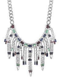 Steve Madden - Multi-colored Crystal Fringe Curb Necklace - Lyst