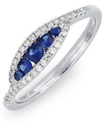 Bony Levy - 18k White Gold Diamond & Sapphire Evil Eye Ring - 0.17 Ctw - Lyst