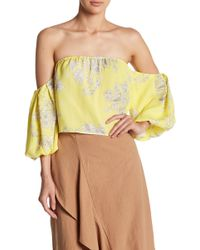 Lush - Off-the-shoulder Bubble Sleeve Crop Top - Lyst
