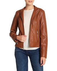 Guess - Zip Front Faux Leather Jacket - Lyst
