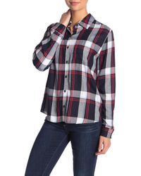 Kensie - Plaid Long Sleeve Top - Lyst