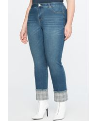 Eloquii - Plaid Cuff Relaxed Jeans (plus Size) - Lyst