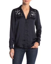 Lucky Brand - Embroidered Satin Western Top - Lyst