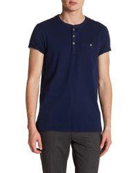 Ted Baker - Laundered Short Sleeve Henley T-shirt - Lyst