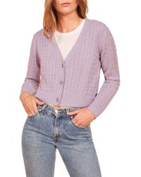 Reformation - Annabell Cable Knit Linen Cardigan - Lyst