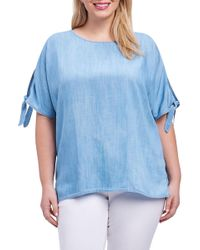 Foxcroft - Laura Tie Sleeve Chambray Shirt (plus Size) - Lyst
