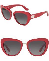 98c3cb58a1 Dolce   Gabbana - 53mm Cat Eye Sunglasses - Lyst