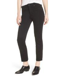 PAIGE - Hoxton High Waist Straight Raw Hem Ankle Jeans (black Overdye) - Lyst