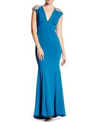 Nicole Bakti - Rhinestone Shoulder Maxi Gown - Lyst