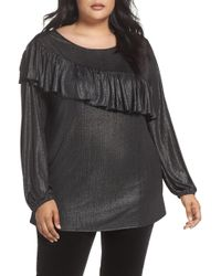 Sejour - Long Sleeve Ruffle Top (plus Size) - Lyst