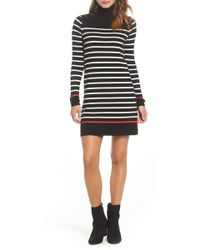 Eliza J - Mock Neck Stripe Shift Dress - Lyst