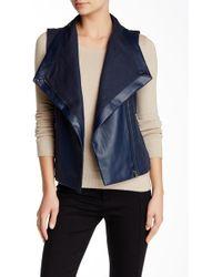 Love Token - Faux Leather Panel Linen Blend Overlap Vest - Lyst