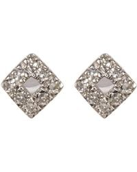 CARRIERE JEWELRY - Sterling Silver Pave Diamond Stud Earrings - 0.05 Ctw - Lyst