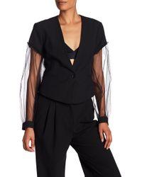 BCBGMAXAZRIA - Sandi Sheer Sleeve Woven Blazer - Lyst