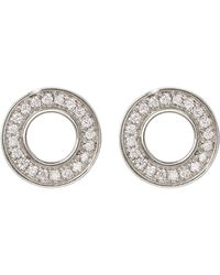 Bony Levy - 18k White Gold Pave Diamond Open Square Stud Earrings - 0.35 Ctw - Lyst