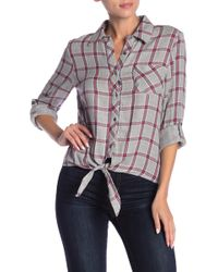 ae9de881a2c Dress Forum - Plaid Tie Front Button Down Shirt - Lyst
