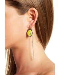 Cara - Parrot Cameo & Crystal Chain Front/back Earrings - Lyst