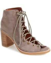 f20cb35c0 Jeffrey Campbell 'cors' Suede Peep Toe Bootie in Natural - Lyst