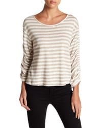 Love Stitch - Striped Ruched Sleeve Shirt - Lyst