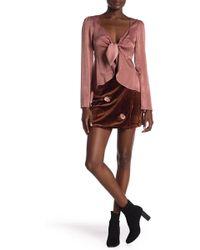 Honey Punch - Velvet Embroidered Wrap Skirt - Lyst