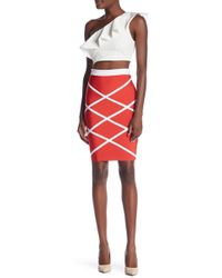 Wow Couture - Contrasting Patterned Pencil Skirt - Lyst