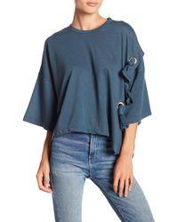 FAVLUX - 3/4 Length Sleeve Lace-and-grommet Sweatshirt - Lyst