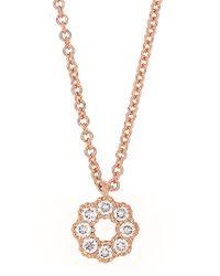 Bony Levy - 18k Rose Gold Diamond Flower Pendant Necklace - Lyst