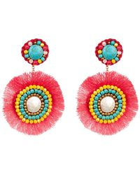 Panacea - 14k Gold Mother Of Pearl Beaded Accent Fringe Drop Earrings - Lyst