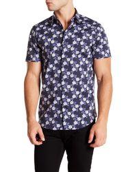 Calibrate - Short Sleeve Blue Floral Print Slim Fit Shirt - Lyst