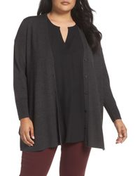 Sejour - V-neck Wool Blend Cardigan (plus Size) - Lyst