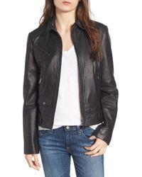 Bernardo - Front Zip Leather Moto Jacket - Lyst