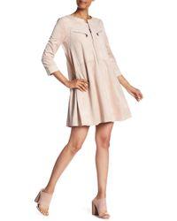BCBGMAXAZRIA - Faux Suede Long Sleeve A-line Dress - Lyst