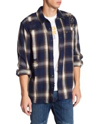 True Religion - Plaid Distressed & Embellished Loose Fit Shirt - Lyst