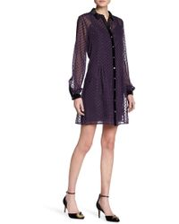 Juicy Couture | Metallic Clipped Dot Shirt Dress | Lyst