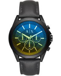 Armani Exchange - Men's Aix Leather Strap Watch, 46mm - Lyst
