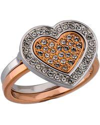 Swarovski - Rhodium Plated Crystal Heart 2-in-1 Ring - Lyst